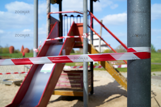 Due to danger of infection closed playground in Magdeburg in Germany