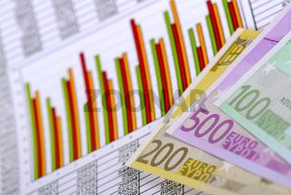 Chart mit Aktienkursen und Euro Banknoten