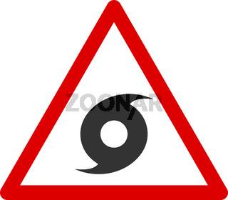 Vector Flat Hurricane Warning Icon