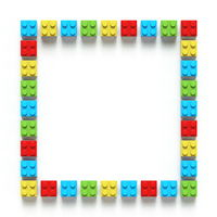Square made of colorful toy bricks 3D