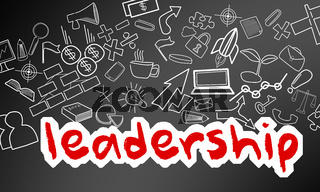 Leadership text with creative drawing for success concept