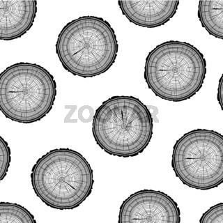 Tree rings saw cut tree trunk background. Seamless wallpaper. Vector illustration.