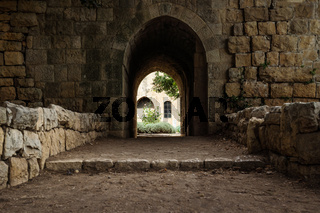 Arch entrance in the backyard of at Emir Bachir Chahabi Palace Beit ed-Dine in mount Lebanon Middle east, Lebanon