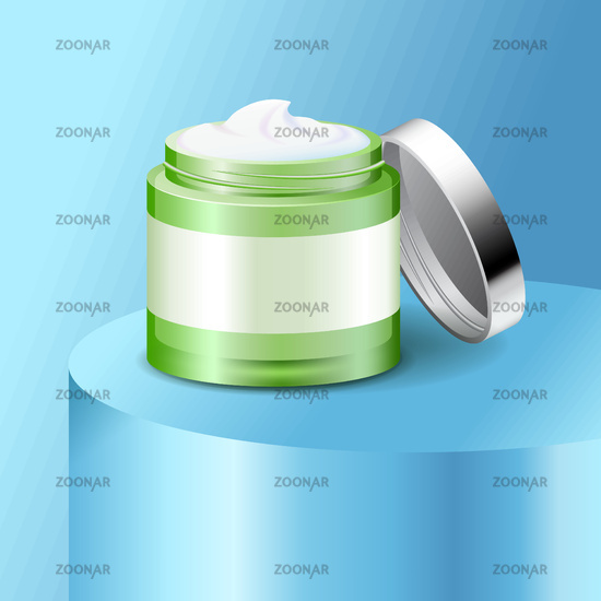 Aloe cream plastic jar, skin care product, cosmetics packaging mockup, vector illustration