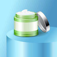 Aloe cream plastic jar, skin care product, cosmetics packaging mockup, vector illustration