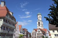 Market place in the historical old town, in the background the parish church St. Martin, Biberach