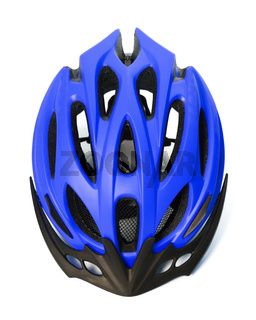Blue bicycle helmet isolated on white background