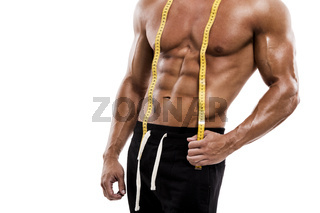 Muscle man with measuring tape