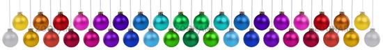 Weihnachten viele Weihnachtskugeln Banner Weihnachts Kugeln Farben Dekoration hängen Freisteller freigestellt isoliert
