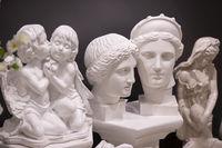 Various plaster sculptures. Plaster head of Venus, angels and Greek goddesses. Sale of plaster sculptures.