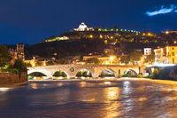 Verona. Madonna di Lourdes sanctuary and Adige river in Verona