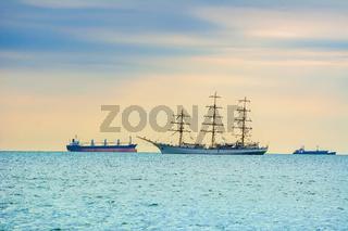 Sailing Ship in the Sea