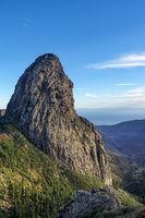 Lava cone of an old volcano - The striking Roque de Agando on the island of La Gomera