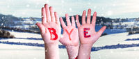 Children Hands Building Word Bye, Snowy Winter Background