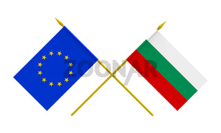 Flags, Bulgaria and European Union