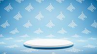 Empty White Platform on Shopping Cart Shape Pattern Studio Background