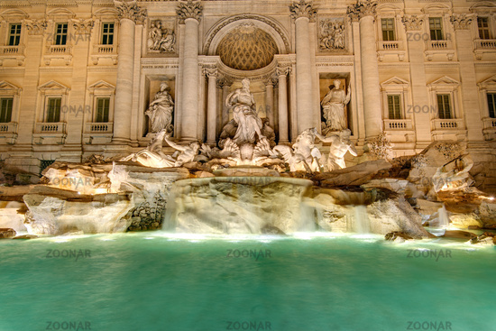 The famous Fontana di Trevi in Rome at night