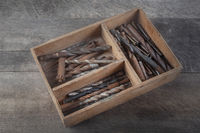 wooden box of used drills2