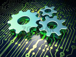 Web development concept: Gears on circuit board background