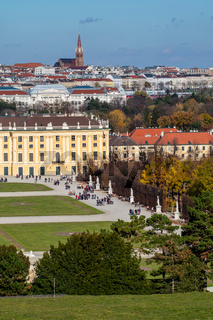 Cityscape with view historical buildings of Schonbrunn Palace in Vienna.