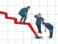 Businessmen and the problem of bankruptcy. The chart goes down and broke the floor