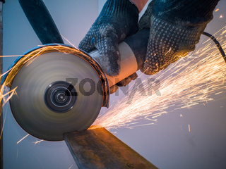 Sawing metal sparks