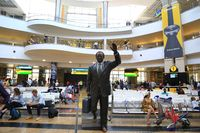 Johannesburg, Southafrica, Statue in the arrival hall at the OR Tambo International Airport
