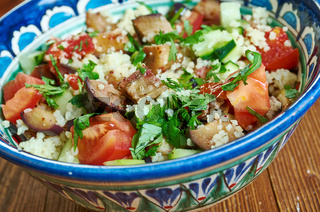 Grilled aubergine tabbouleh