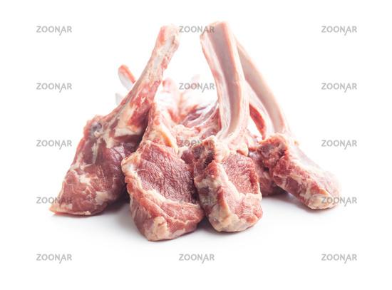 Slices raw lamb chops.