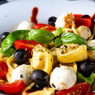 rustic tortellini pasta salad with mozzarella