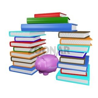 Saving Piggy Bank in Stacks of Books