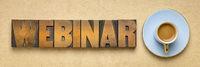 webinar banner  in letterpress wood type