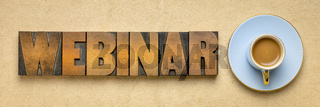 webinar banner  in letterpress wood type