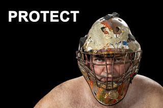 Defender. Portrait of a brutal man in a protective mask