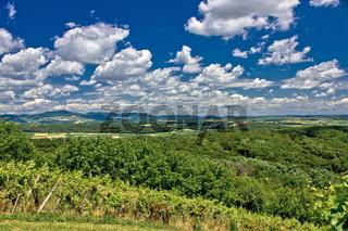 Beautiful green scenery landscape under cloudy sky