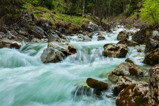 Cascade of Kuhfluchtwasserfall. Long exposure for motion blur. Farchant