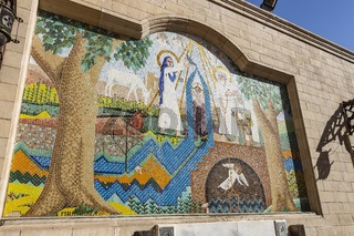 Colored Mosaic art design in the courtyard of the Hanging Church