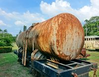 Old railroad car with a tank for transporting liquids