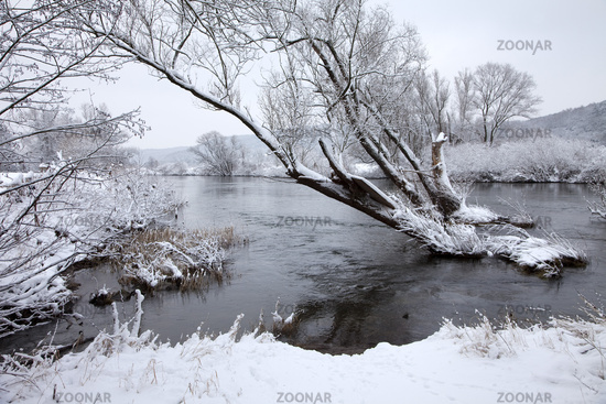 The river Ruhr in winter, weather, Germany.