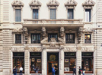 Classic European architecture and historical buildings on the city center streets of Milan in Lombardy region in Northern Italy