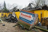 Burnt down restaurant Pavillon, Berlin, Germany