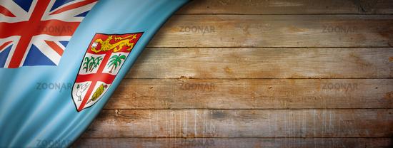 Fijian flag on vintage wood wall banner