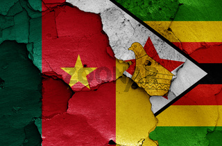 flags of Cameroon and Zimbabwe painted on cracked wall