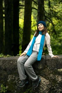 Woman in nature thinking