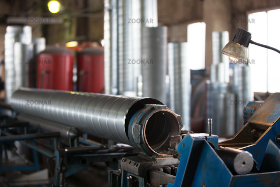 Manufacture of metal vent pipes in the factory