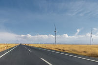 road motion blur through the wind farm