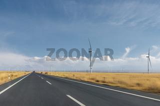road motion blur through the wind farm