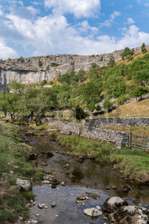 View of the countryside around Malham Cove in the Yorkshire Dales National Park