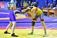 Orenburg, Russia - October 25, 2017 year: Girls compete in freestyle wrestling in the tournament for
