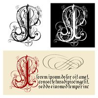 Decorative Gothic Letter I. Uncial Fraktur calligraphy.
